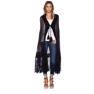 Wildfox Couture Fringe Cardigan Clean Black OS